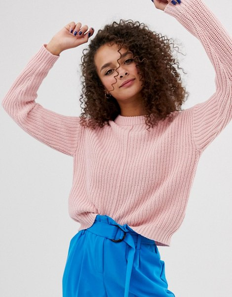 Bershka seam front sweater in pink in pink