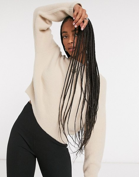 Bershka soft touch crew neck sweater in camel-brown in brown