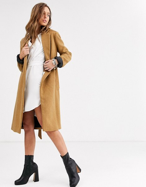 Bershka tie waist tailored coat in camel-beige in beige