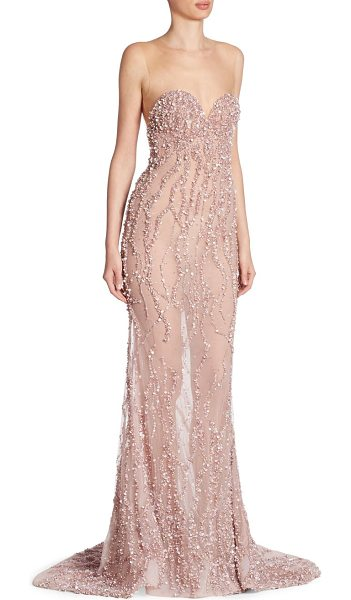 BERTA beaded illusion gown in blush - Glamorous sweeping gown with intricate tonal beading....