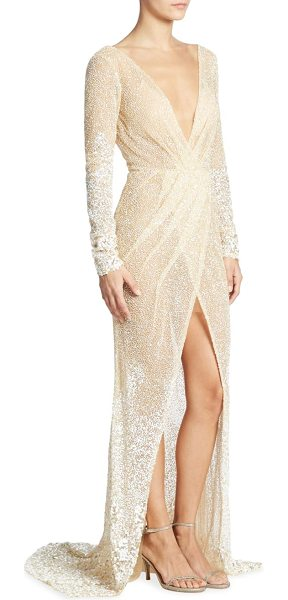 BERTA long-sleeve beaded gown in champagne - A plunging V-neckline details this radiant beaded gown....