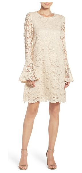 Betsey Johnson bell sleeve lace shift dress in beige - Flared bell sleeves put a flirty, retro spin on the...
