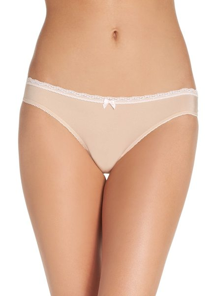 Betsey Johnson perfectly sexy thong in sand - A smooth-fitting thong features lace trim and a tiny...