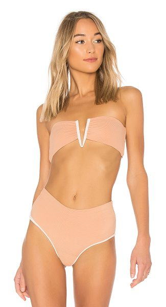 Bettinis Deep V Bandeau Top in pink - 83% nylon 17% spandex. V-wired front. Back tie closure....