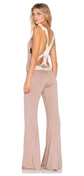 Bettinis Macrame jumpsuit in taupe - 100% rayon. Dry clean only. Drawstring waist. Woven back...