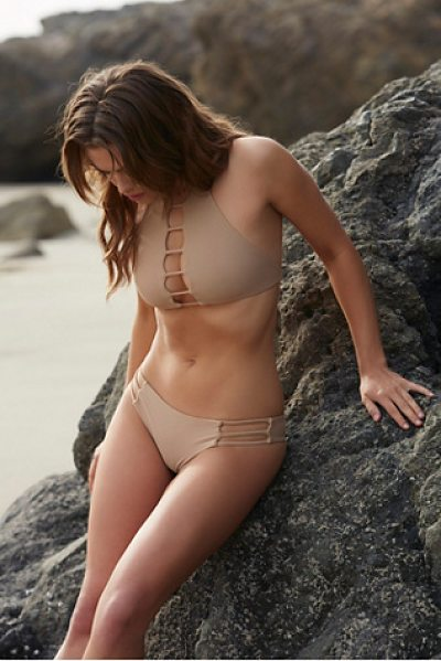 Bettinis Strappy cheeky bottom in sand - Made in California these low rise cheeky bikini bottoms...
