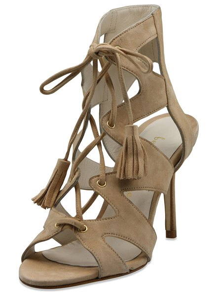 """Bettye Muller Swell Caged Lace-Up Suede Sandals in beige - Bettye Muller high-rise caged suede sandal. 3.5"""" covered..."""