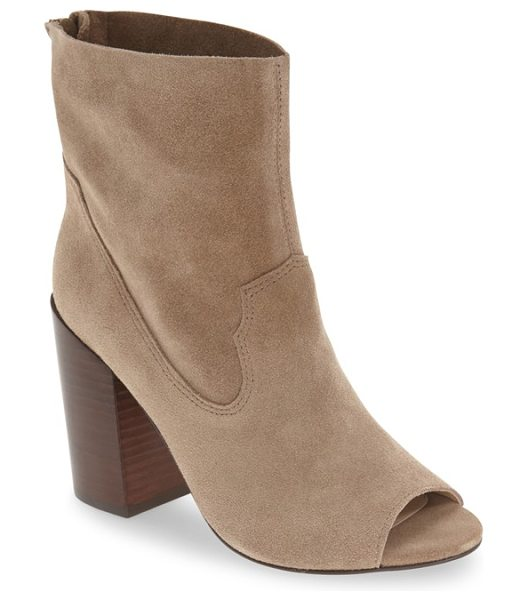 Bettye Muller 'waight' peep toe bootie in stone - A flirty peep toe details a minimalist bootie crafted in...