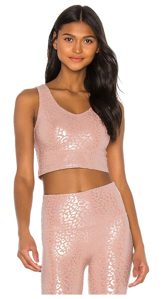 Beyond Yoga back flip cropped tank in tinted rose & iridescent clear leopard