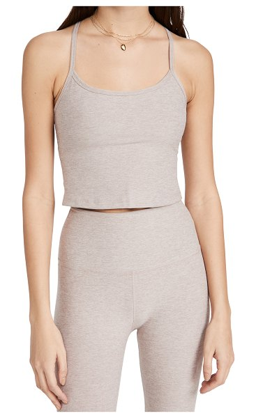 Beyond Yoga spacedye slim racerback cropped tank in chai