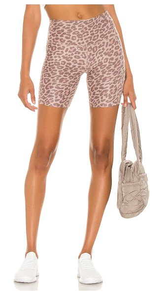 Beyond Yoga x revolve spacedye high waisted biker short in chai cocoa brown leopard