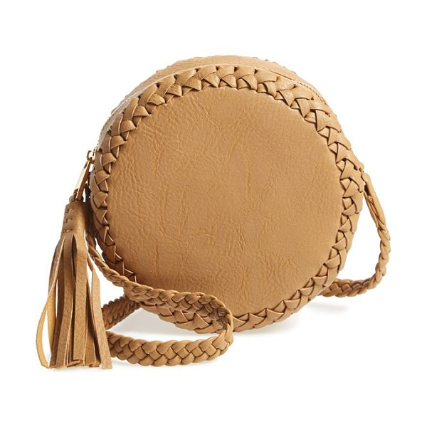 Big Buddha Faux leather round crossbody bag in camel - Woven trim and a bold tassel extend the boho-chic appeal...