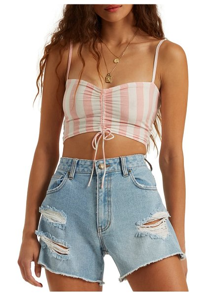 Billabong beaud up ruched crop tank in coral