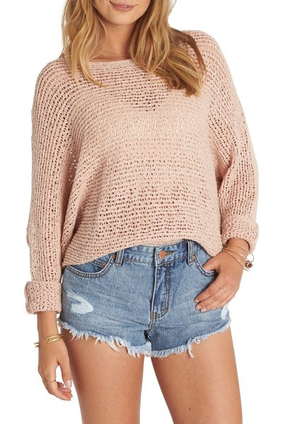 Billabong dance with me knit sweater in rose dust - A fishnet-like knit sweater offers a playful peek at the...