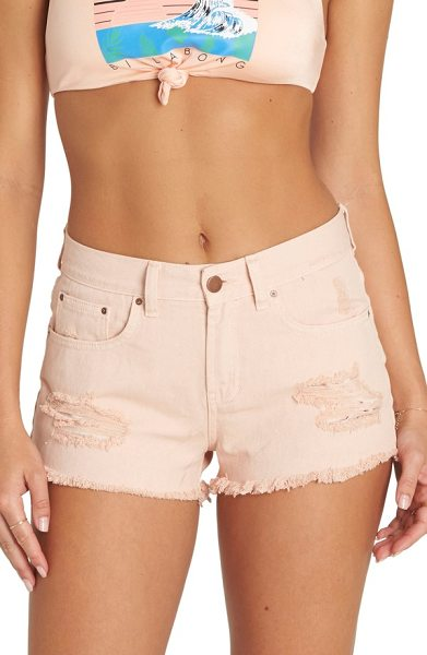 Billabong drift away distressed denim cutoff shorts in peaches - Shredded patches and supershort hems add lived-in charm...