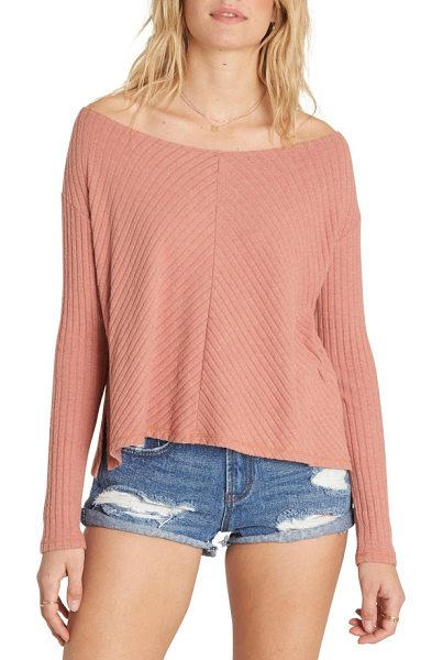 Billabong first glance sweater in ash rose - Ribbed chevron stitching adds dimension to a delicate...