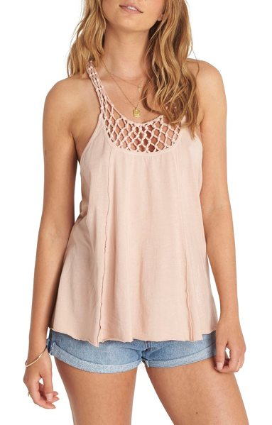 Billabong knotted neckline tank in dust rose - Knotted mesh at the neckline calls to mind vintage...