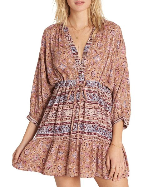 Billabong marry mine ruffle hem minidress in sand dune - Billowy dolman sleeves and a breezy ruffle hem in...