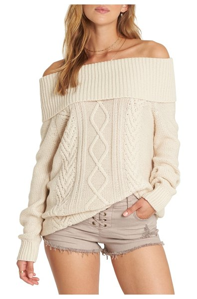 Billabong off shore off the shoulder sweater in cream - Folded over to show off your shoulders, this cable-knit...