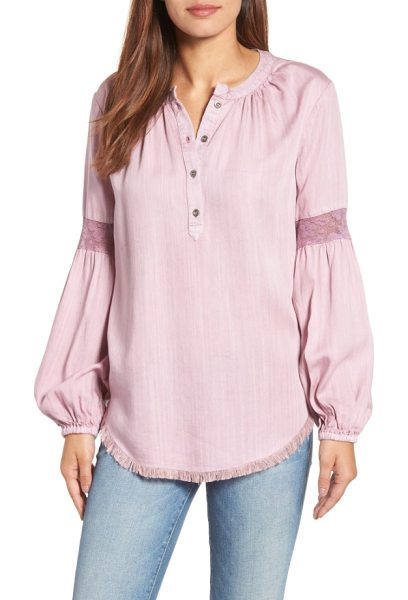 BILLY T frayed hem chambray top in dusty rose - Billowed sleeves with mesh lace insets put a romantic...