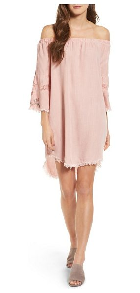 BILLY T off the shoulder denim dress in dusty pink - Bell sleeves detailed with lace, embroidery and a...