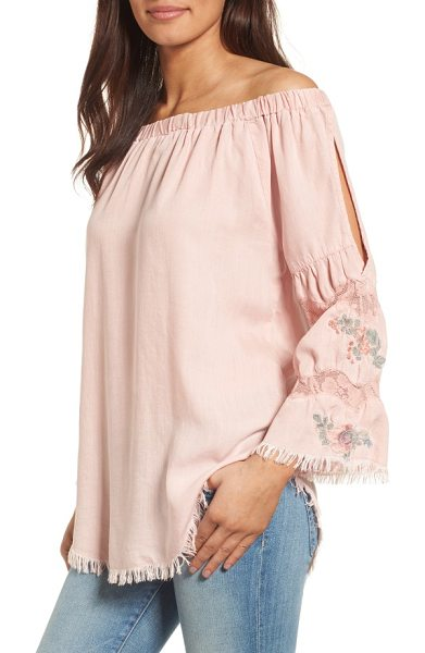 BILLY T off the shoulder denim top in dusty pink embroidered - Bell sleeves detailed with lace, embroidery and a...