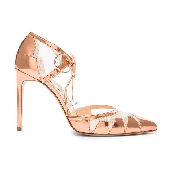 Bionda Castana Lana nude mesh & patent leather heels in metallics - Metallic patent leather upper with leather sole.  Made...
