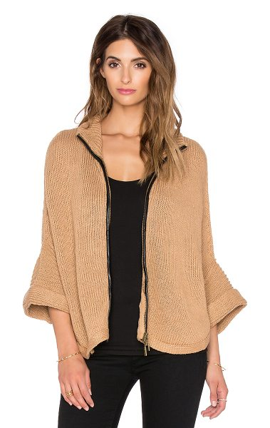 Bishop + Young Ana cape sweater in tan - 70% acrylic 30% wool. Hand wash cold. Front zipper...