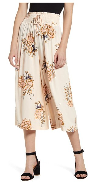 Bishop + Young camila floral crop wide leg pants in pink