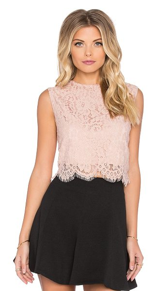 BISHOP + YOUNG Everly lace crop top - 100% poly. Hand wash cold. Back exposed zipper closure....