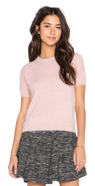 BISHOP + YOUNG Fluffy short sleeve sweater in pink - 70% acrylic 30% nylon. Hand wash cold. Ribbed trim....