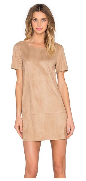 Bishop + Young Suede dress in cream - 100% poly. Hand wash cold. Unlined. Exposed back zipper...