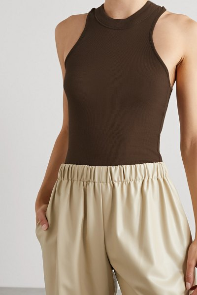 BITE Studios ribbed organic cotton-jersey tank in light brown