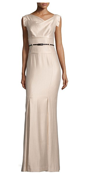 Black Halo Asymmetric-Neck Mermaid Gown in champagne