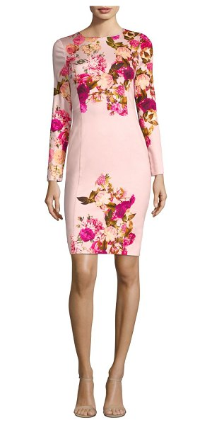 Black Halo lively sheath dress in rosabella - Alluring dress with floral placement print. Jewelneck....
