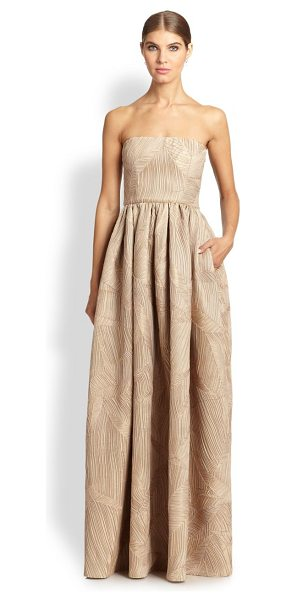 Black Halo Pleated satin strapless gown in brandy - Delicate allover pleats lend a tactile pattern to this...