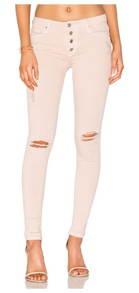 Black Orchid Candice Button Front Skinny in rosewater - 43% viscose 33% cotton 17% tencel 5% poly 2% elastane....