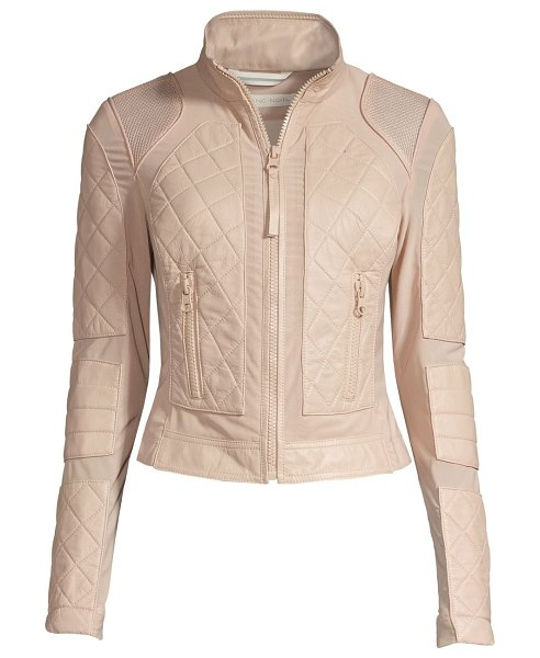 Blanc Noir leather moto jacket in stone