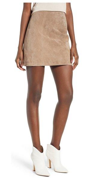 Blank NYC a-line suede skirt in beige