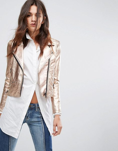 "Blank NYC Blank NYC Rose Gold Metallic Biker Jacket in pink - """"Biker jacket by Blank NYC, Metallic faux-leather..."