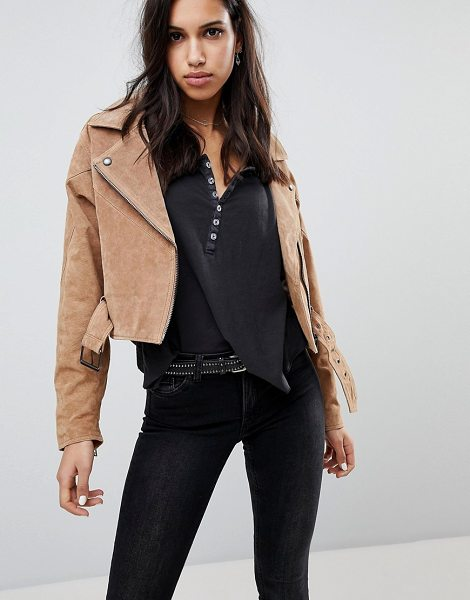 Blank NYC festival suede biker jacket in desertsand - Biker jacket by Blank NYC, The search for your next...