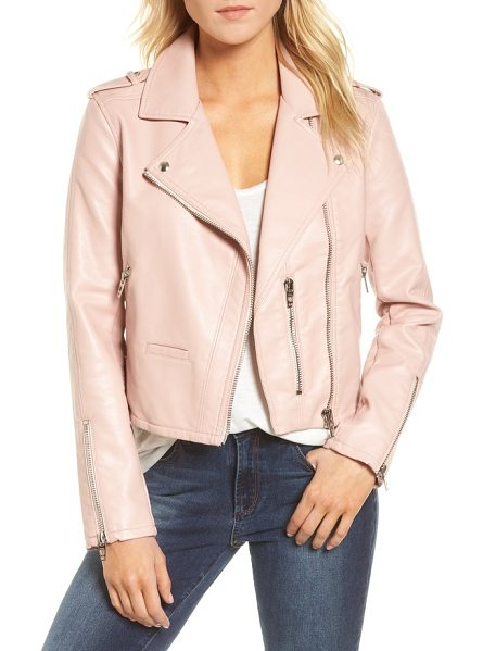 BLANK NYC faux leather moto jacket in blushing hard - Sleek and sophisticated, with a touch of old-school...