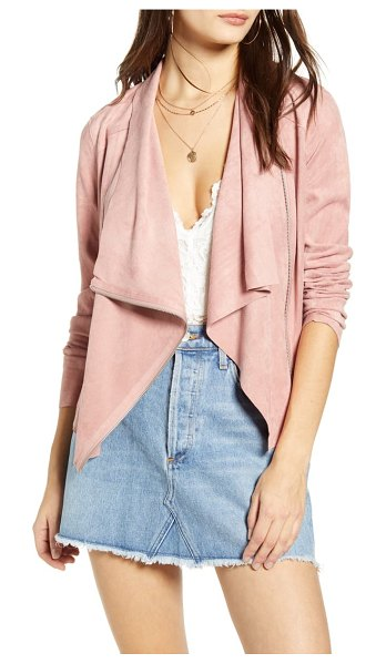 Blank NYC faux suede drape front jacket in pink