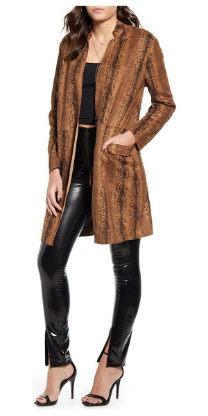 Blank NYC snake print long faux leather coat in brown