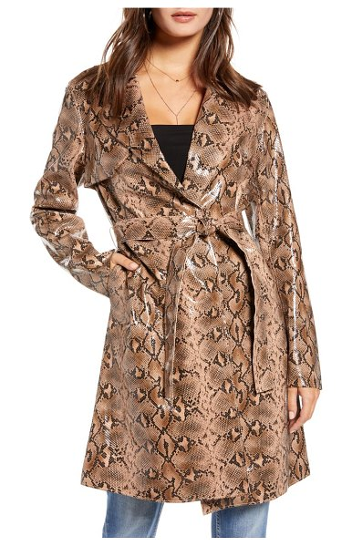 Blank NYC snakeskin faux leather trench coat in beige