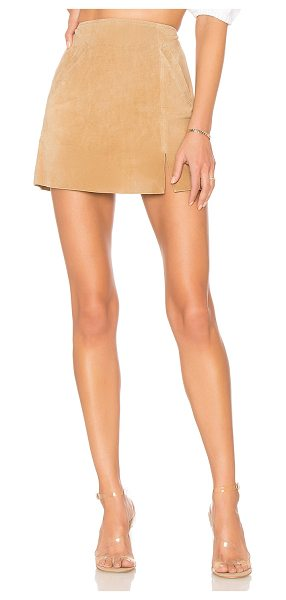 """Blank NYC Suede Mini Skirt in nude - """"Genuine leather. Wipe clean with damp cloth. Fully..."""