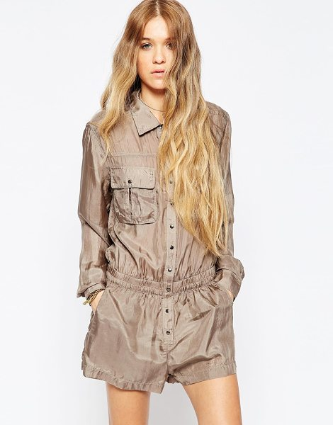 BLANK NYC Taupe living dead girl utility romper in beige - Playsuit by Blank NYC Woven silk Point collar Press-stud...