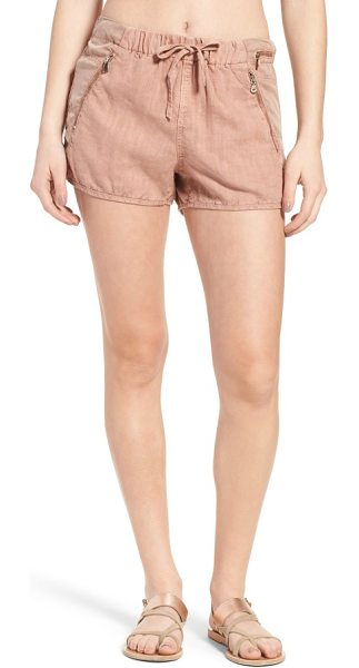 Blank NYC drawstring linen blend shorts in fading rose - Relaxed drawstring shorts with a subtle dolphin cut are...