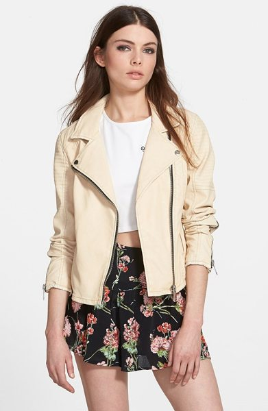 Blank NYC faux leather moto jacket in beige - From the metal-studded notch lapels and exposed zip...