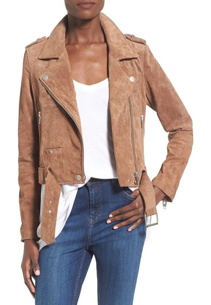 Blank NYC morning suede moto jacket in coffee bean - Step up your jacket game with a super-fab, moto-inspired...